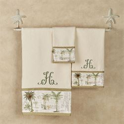 Colony Palm Towel Set Ivory Bath Hand Fingertip