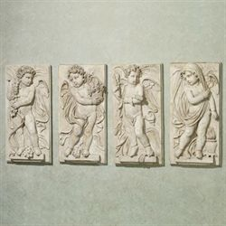 Four Seasons Cherub Plaque Set Antique White Set of Four