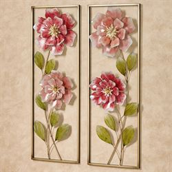 Rose Blossoms Floral Metal Wall Art Set