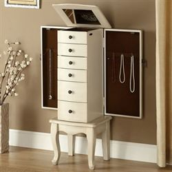 Katie Anne Jewelry Armoire Antique Ivory
