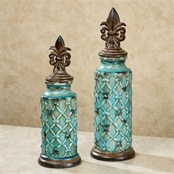 Theobold Urns with Lids Teal Set of Two