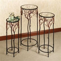 Coral Reef Pedestal Set Burnt Red Set of Three