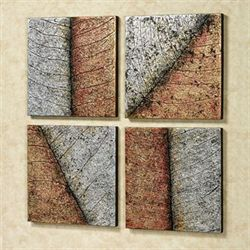 Lavish Leaves Canvas Art Multi Metallic Set of Four