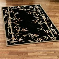Bamboo Area Rug Black