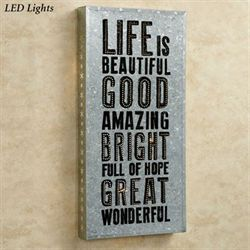 Life Is Beautiful LED Lighted Wall Art Silver
