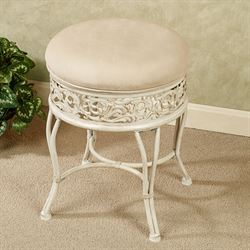 Venessa Backless Vanity Stool Ivory/Gold