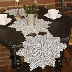 Lustrous Snowflake Table Runner Silver