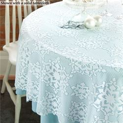 Snowflake Glitter Round Tablecloth White 70 Diameter