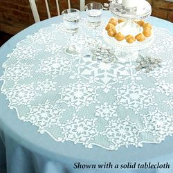 Snowflake Glitter Round Table Topper White 36 Diameter