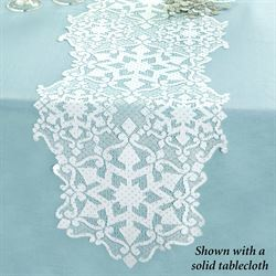 Snowflake Glitter Table Runner White