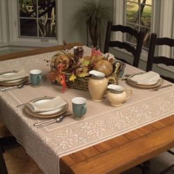 Leaf Harvest Square Table Topper Straw 58 Square