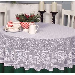 Holiday Holly Round Tablecloth 70 Diameter