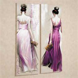 Brunette Beauties Canvas Wall Art Set Purple Set of Two