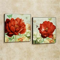 Summer Joy Floral Wall Art Set Ember Glow Set of Two