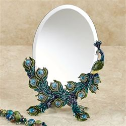 Jeweled Peacock Tabletop Vanity Mirror Multi Jewel