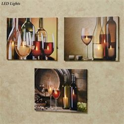 Malbec Wine LED Canvas Art Multi Warm Set of Three