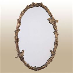 Elegant Birds Wall Mirror Antique Gold