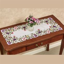 Pansy Patch Table Runner Ivory 16 x 36