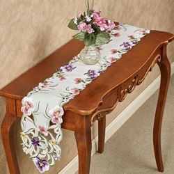 Pansy Patch Long Table Runner Ivory 9 x 60