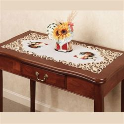 Classic Rooster Table Runner White