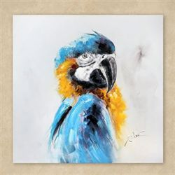 Blue and Gold Macaw Canvas Wall Art Multi Jewel