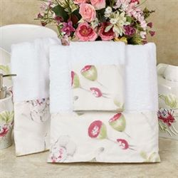 Floral Haven Bath Towel Set White Bath Hand Wash