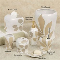 Shadow Leaves Lotion Soap Dispenser Off White