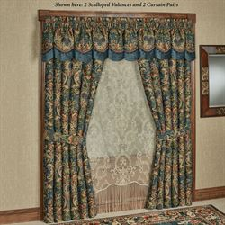 Casanova Wide Tailored Curtain Pair Dark Teal