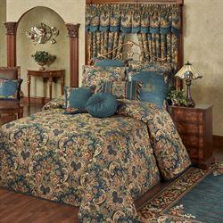 Casanova Jacobean Floral Dark Teal Oversized Bedspread Bedding