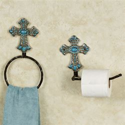 Turquoise Cross Toilet Paper Holder