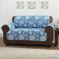Snowflake Furniture Protector Cover Medium Blue Recliner