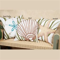 Blue Oasis Sand Dollar Pillow White 18 Square