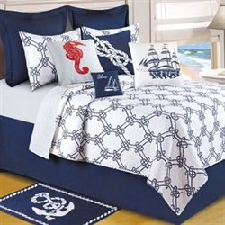 Knotty Buoy Nautical Quilt White