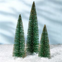 Possible Dreams Gold Tipped Trees Green Set of Three