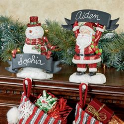 Santa and Snowman Chalkboard Stocking Holders Red Set of Two