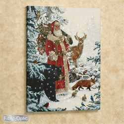 Santa with Animals Lighted Canvas Wall Art Multi Warm