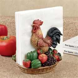 Rooster Medley Napkin Holder Multi Earth