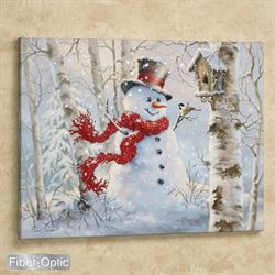 Snowman LED Lighted Canvas Wall Art White