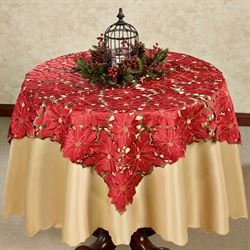 Christmas Poinsettia Large Table Topper Red 52 Square