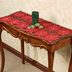 Christmas Poinsettia Accent Table Runner Red 16 x 36