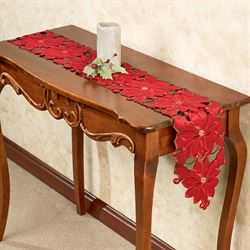 Christmas Poinsettia Console Table Runner Red 8 x 60