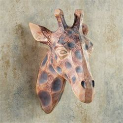 View from Above Giraffe Head Wall Art Beige/Brown
