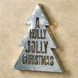 Holly Jolly Lighted Word Art Silver Three Piece Set