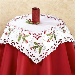 Holly and Lace Large Table Topper Green 36 Square