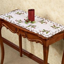 Holly and Lace Table Runner Green 16 x 36