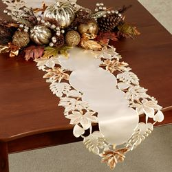 Bronze Leaves Table Runner Cream