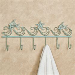 Coastal Wave Wall Hook Rack Aqua