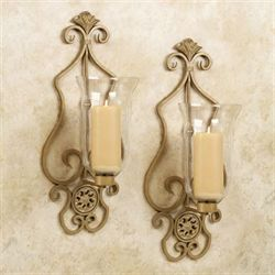 Bella Hurricane Wall Sconce Pair Venetian Gold Pair