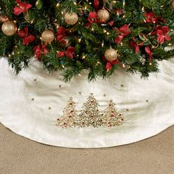 O Christmas Embroidered Tree Skirt Light Cream