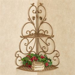 Wings of Love Corner Wall Shelf Satin Gold